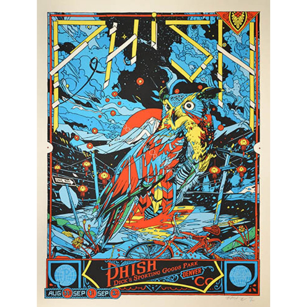 Phish Dick's Sporting Goods 2012 Official Silk Screen Print Limited Edition of 900  (Blue Variant)