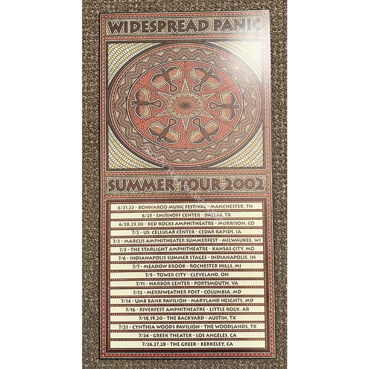Widespread Panic Summer Tour 2002 L.E. Poster