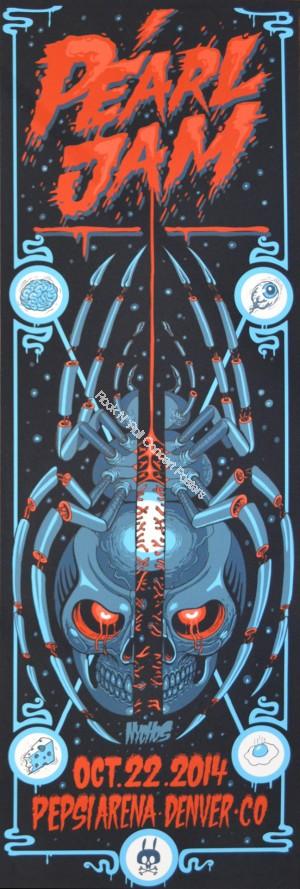 Pearl Jam @ The Pepsi Center Denver Colorado October 22nd 2014 Official Silk Screen Print
