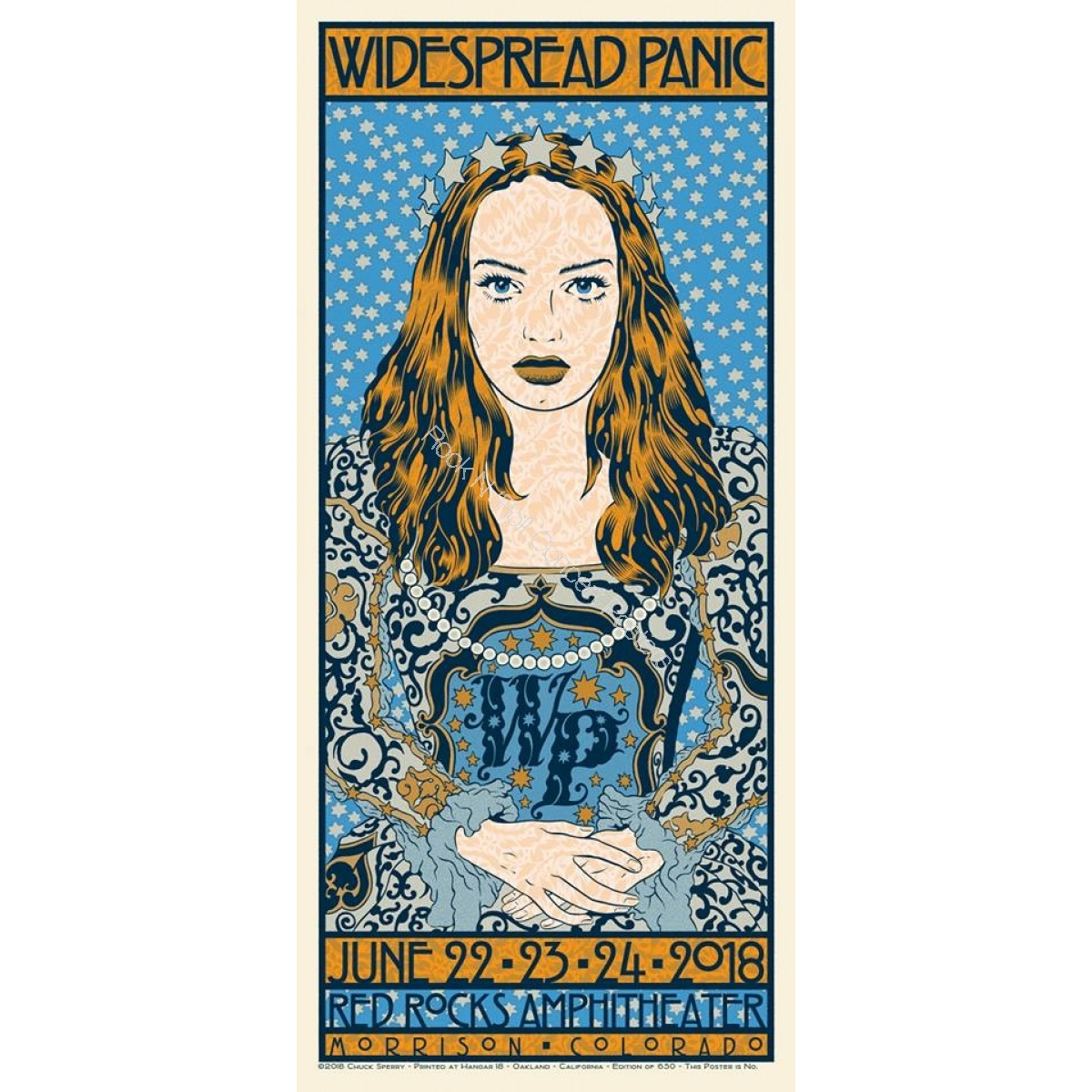 Widespread Panic Red Rocks Amphitheater Colorado June 22-24th 2018 LE Screen Print Poster By Chuck Sperry