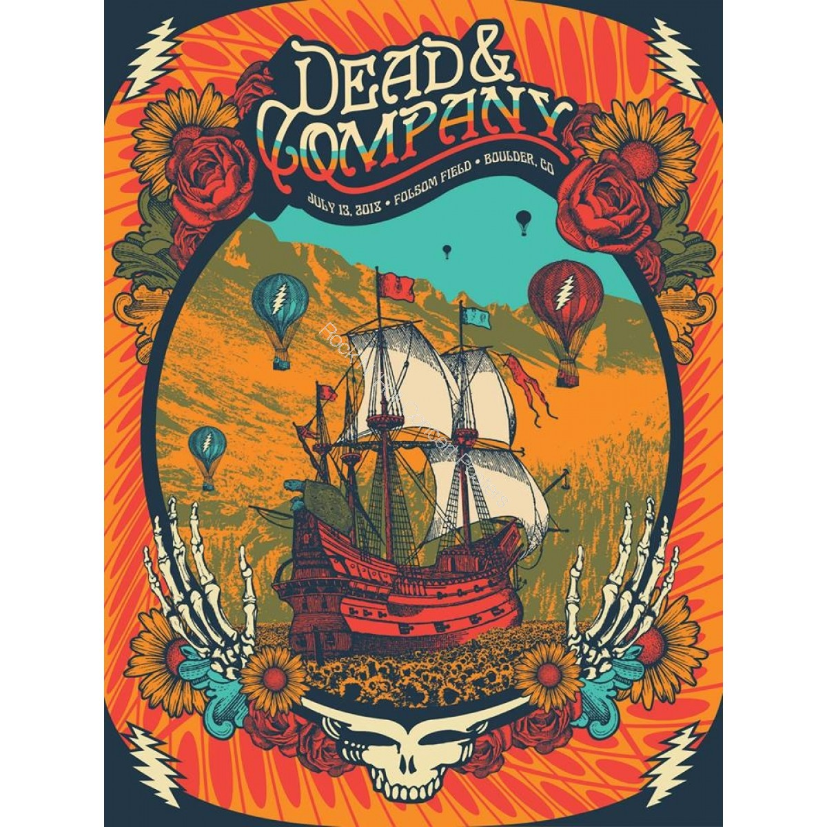 Dead & Company Folsom Field Boulder Colorado July 13th 2018 Official LE Screen Print Poster By Status Serigraph
