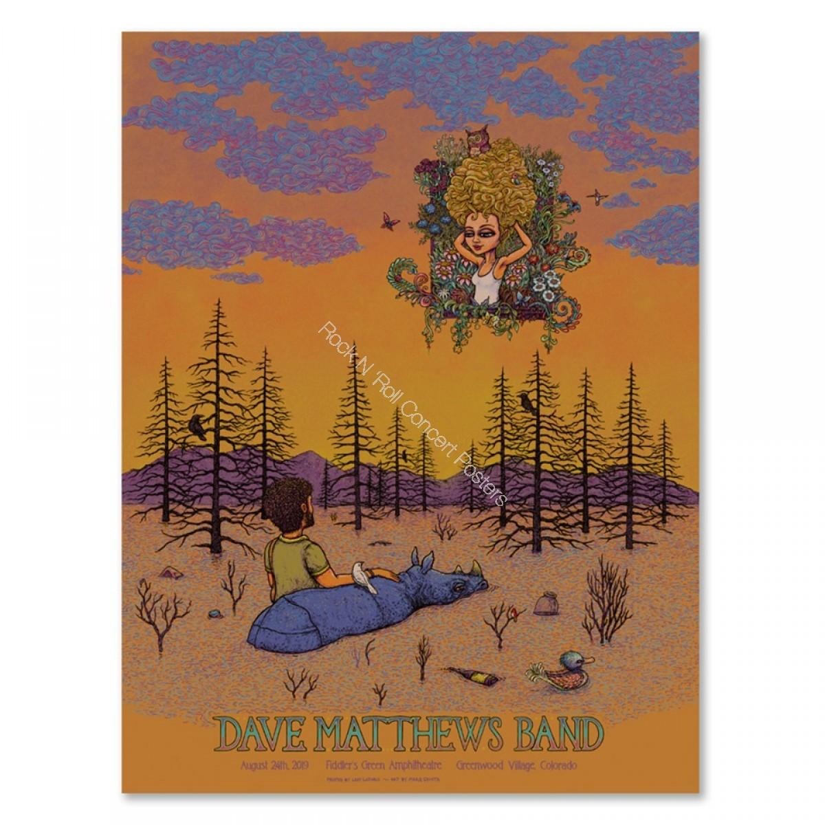 Dave Matthews Band Fiddler's Green Amphitheatre Greenwood Village Colorado 8/24/19 Official Screen Print