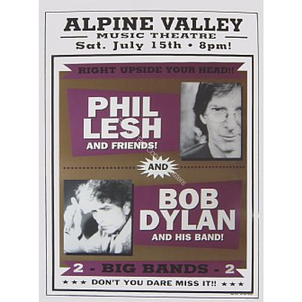 Bob Dylan, Phil Lesh, & Widespread Panic Official Boxing Style Print Alpine Valley 7/15/00 Limited Edition of 200