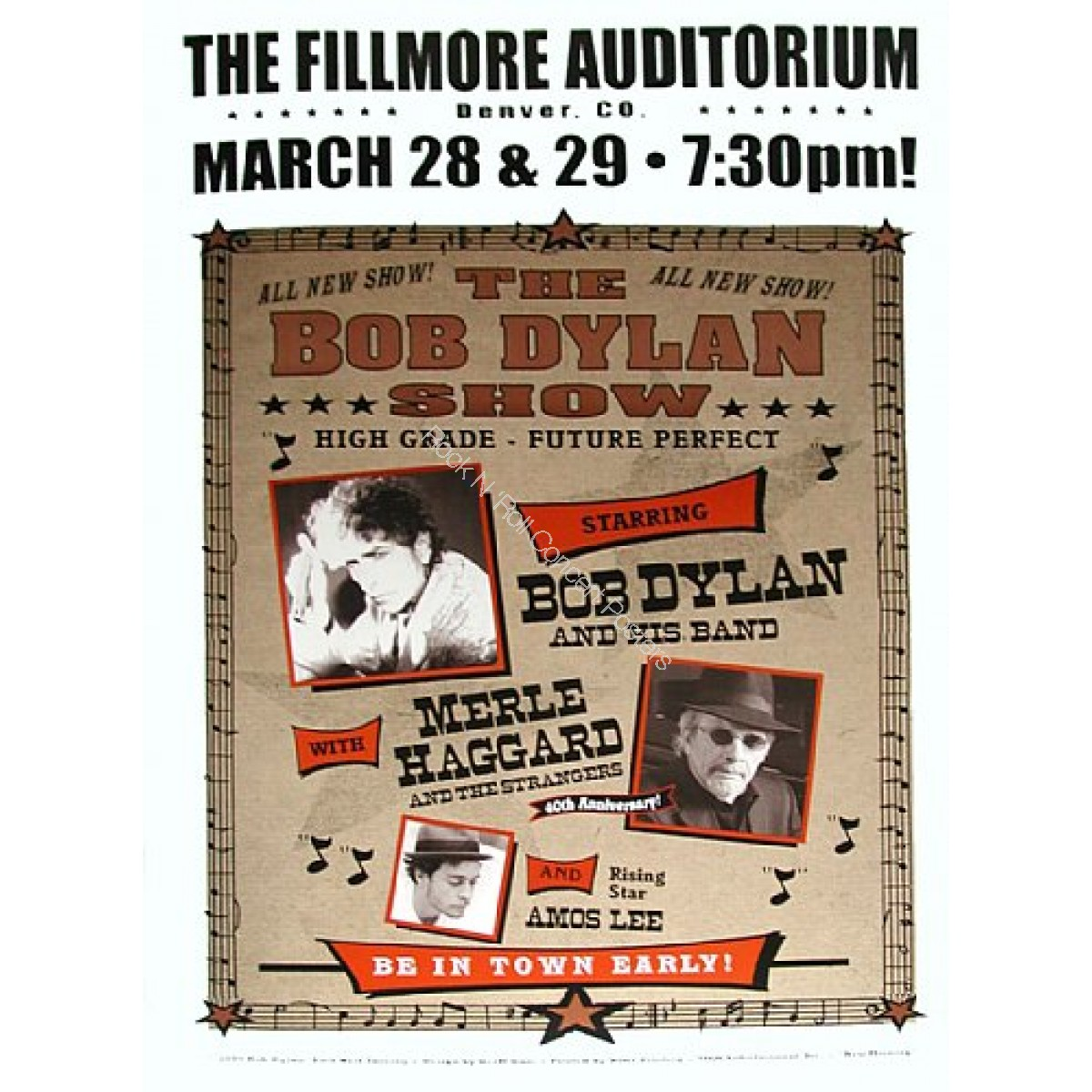 Bob Dylan, Merl Haggard & Amos Lee @ The Denver Fillmore 3/28-29/05 Official Limited Edition Poster of 200