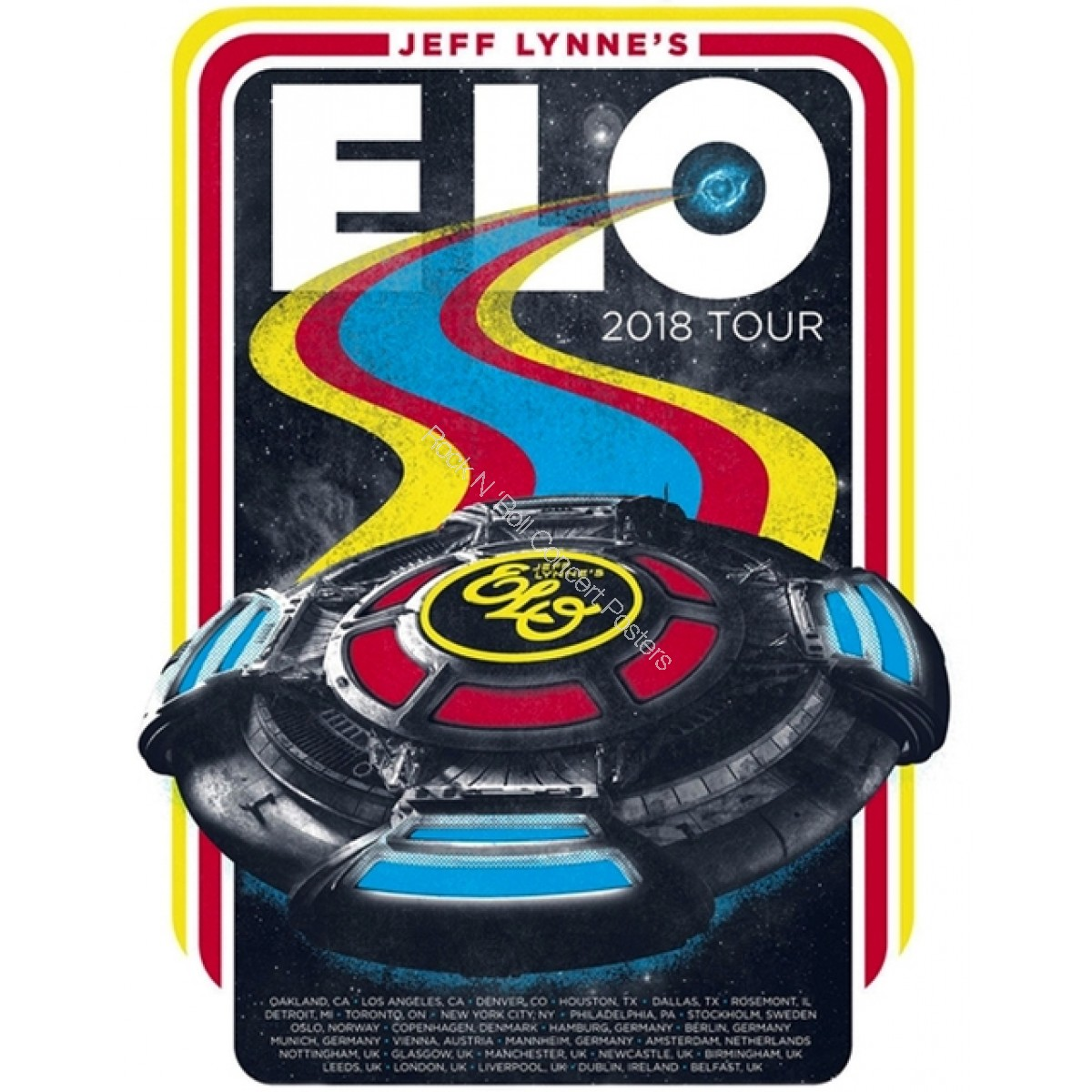 Jeff Lynne's Electric Light Orchestra 2018 World Tour Poster Limited Edition Hand Numbered