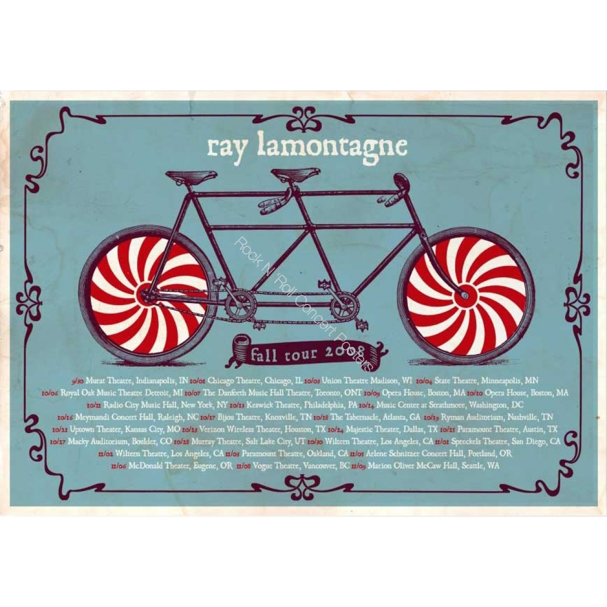 Ray Lamontagne Fall Tour 2008 Poster Including Macky Auditorium Boulder