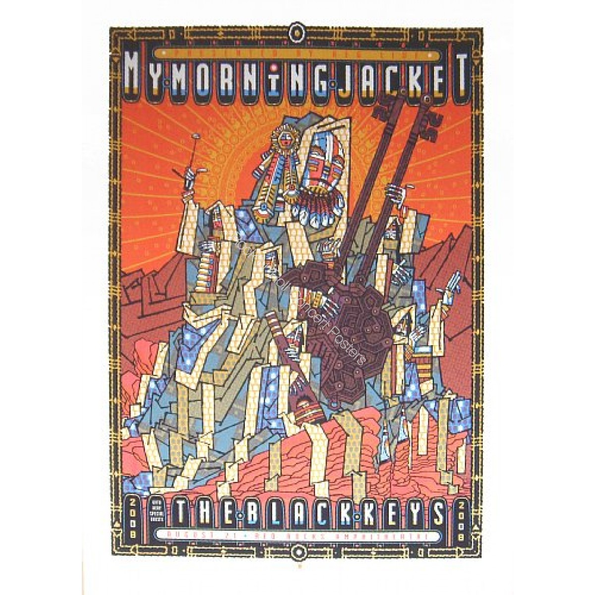 My Morning Jacket & The Black Keys  @ Red Rocks 2008 LE Print of 370 By Guy Burwell