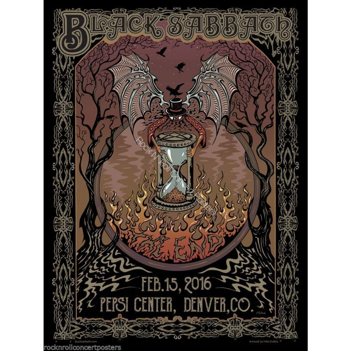 BLACK SABBATH DENVER 2/15/16 LIMITED EDITION HAND NUMBERED SCREEN PRINT CONCERT POSTER MINT BY MIKE DUBOIS