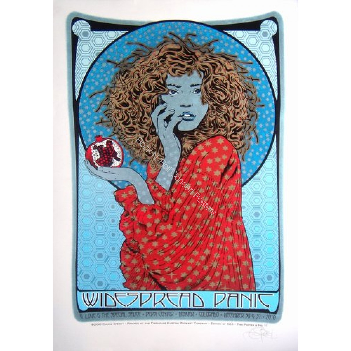 "Widespread Panic New Years Eve at The Pepsi Center Denver Colorado 2010 ""The Winter Lady"" Poster By Chuck Sperry"