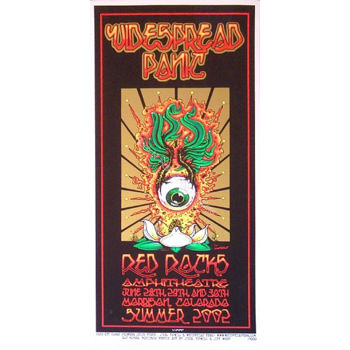 Widespread Panic Red Rocks  2002  Official 1st edition s/n screen print By Tidwell & Wood