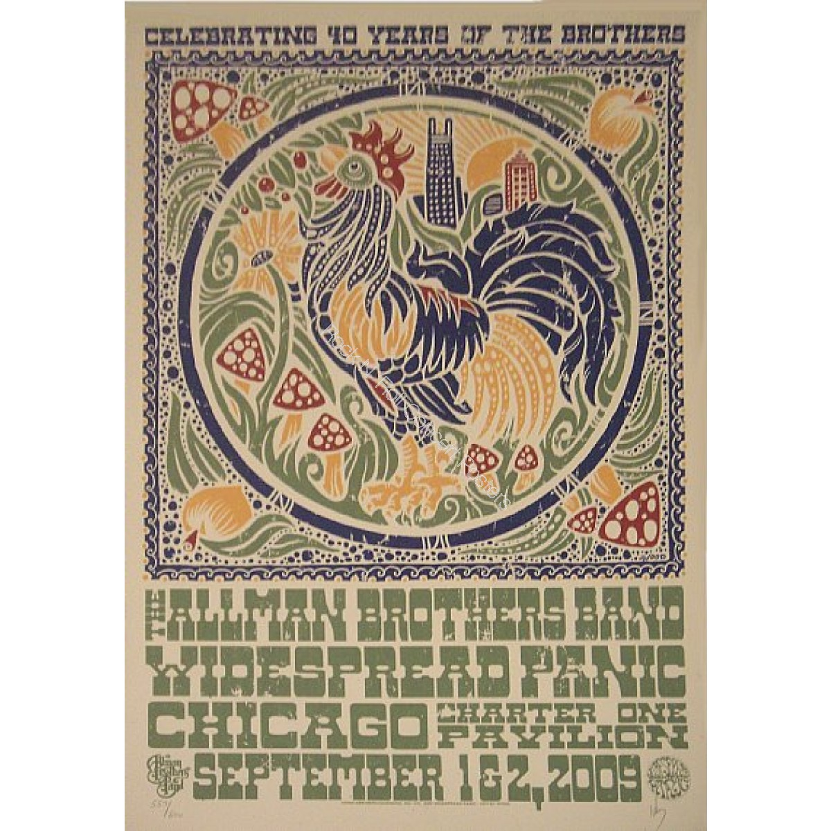 Allman Brothers & Widespread Panic Chicago LE screen Print 9/1-2/09