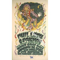 Phil Lesh & Friends Bill Graham Civic Auditorium Mardi Gras Concert  1/26/08 Official screen print. With Bonus Autograph of Phil Lesh