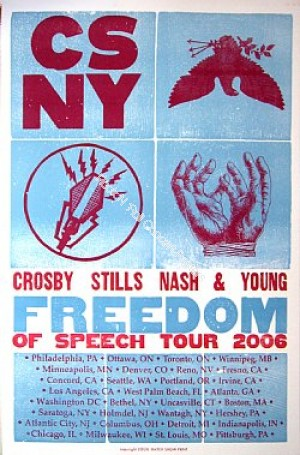 Crosby Stills Nash & Young CSNY US Tour 2006 Letterpress poster by Hatch Show Print