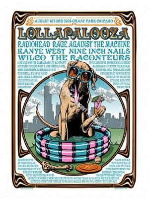 Lollapalooza 2008 Official Limited Edition Silkscreen Print By Justin Hampton Radiohead, Black Keys, Nine Inch Nails, Kanye West & Many More!